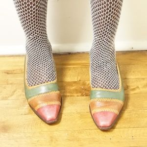 Vintage Multicolored Leather Flats